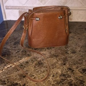 Vintage Bally Croc Imprinted Brown Hand Bag